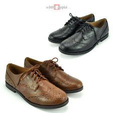 c9177481a New Women Oxford Lace Up Flats Faux Leather Low Heel Soda Casual Shoes Toast