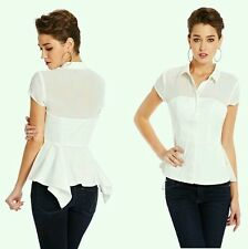 GUESS BY MARCIANO SOZIE POPLIN WHITE BLOUSE PEPLUM TOP SIZE XS