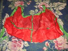 Festive holiday half apron jingle bells red with green trim christmas sheer