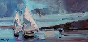 JOSE TRUJILLO Oil Painting IMPRESSIONISM CONTEMPORARY SAILBOATS SAILING SIGNED