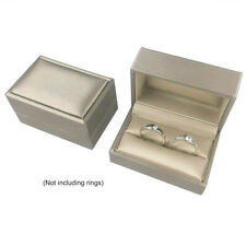 Vintage Double Ring Box PU Leather Jewelry Display Gift Case For Wedding Gold