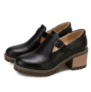Women's Round Toe College Work Casual Buckle Strap Low Heel Mary Janes Shoes D