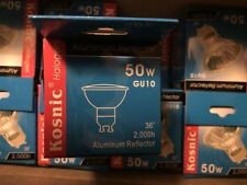 8x KOSNIC GU10 50W ALUMINIUM REFlect  DIMMABL HALOGEN BULBS 36* BEAM 2000h LIFE