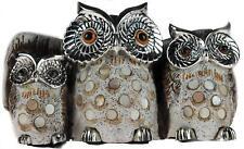 Silver 3 Wise Owls Ornament 20cm Figurine