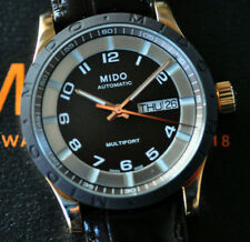 Mido Multifort Automatic Watch Stunning Black Dial Deployant Leather NEW in Box