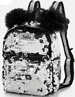 Justice Girl's PANDA UNICORN EMOJI Flip Sequin Mini Backpack Silver Black New