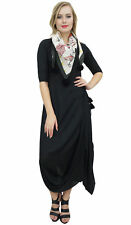 Bimba Women's Designer Black Cowl Drape Maxi Dress With Printed Tassel Scarf
