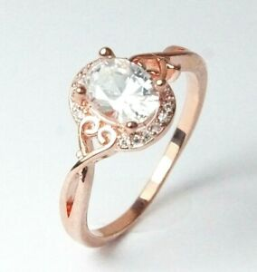 Women's Rose Gold Plated Clear Crystal Ring UK Size P