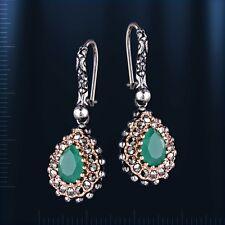Russische silber Ohrringe mit grünem Achat und Marcasite. Silber 925° Neu