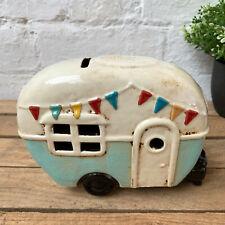 New Ceramic Village Caravan Camper Van Pottery Money Coin Savings Piggy Bank Box