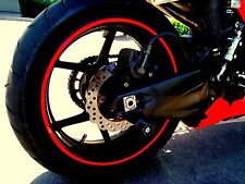 "Red Rim Tape Decals Motorcycle 17"" Wheel Vinyl Stickers Stripes Reflective Set"