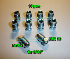10 x Male M10x1 HEX 10 Brake Line Pipe Nuts Galvanized Metric for 3/16 Pipes D