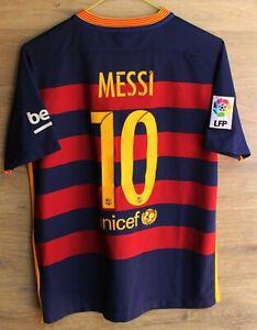 BARCELONA SPAIN 2015/2016 HOME FOOTBALL SHIRT JERSEY NIKE #10 MESSI SIZE XL KIDS