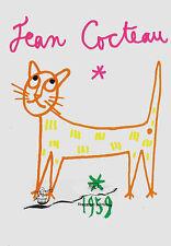 Carte postale d'art-Jean COCTEAU: LE CHAT/THE CAT/LE CHAT