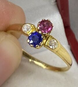 Victorian, 18k Gold Sapphire, Ruby & Diamond Ring ~ Charming Sweetheart Antique!