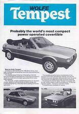 VW Volkswagen Scirocco Mk 1 Wolfe Tempest Cabriolet 1980-81 Original UK Brochure