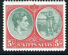 ST KITTS-NEVIS-1945 5/- Bluish-Green & Scarlet Perf 14 Ordinary Paper  Sg 77b
