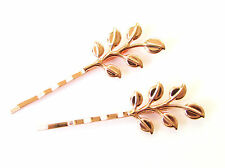 2 x Rose Gold Olive Leaf Hair Grips Baroque Bobby Pins Clips Bridal Grecian 1181