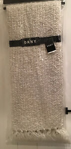 """DKNY Throw Weave Ivory Gold Sparkle Throw with Fringe 50""""x 60"""",NWT"""