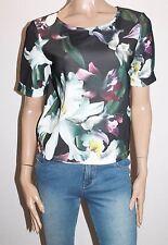 VILA CLOTHES Brand Black Floral Print VIBELIEVE Top Size M BNWT #TB50