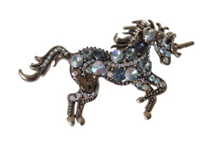 Brooch Pin Unicorn Bronze Golden With Stones Encrusted