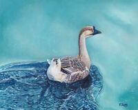 "Original Artwork oil painting swimming goose on canvas panel, animal 8x10"""
