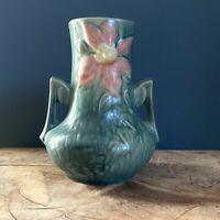Roseville Art Pottery Blue Clematis Double Handle Vase