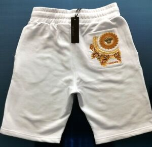 NEW MENS VERSACE WHITE EMBROIDERED SWEAT SHORTS