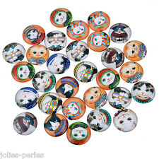 JP 10PCs Mixed Wool Cap Cat Dome Cabochon Glass Embe1lishments Jewelry 12mm