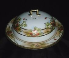 ANTIQUE HAND PAINTED NIPPON PORCELAIN PANCAKE WARMER PLATE w/ LID or CHEESE DISH