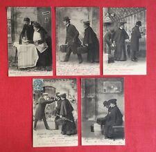 CPA. 5 CPA. LE TRAIN DE PLAISIR. 1903-1904. H.Manuel. Série Numéros 1-2-3-4-5.