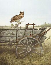 "Jon Robertson ""Old Ranch Wagon"" Signed Fine Art Lithograph owl, farm MAKE OFFER"