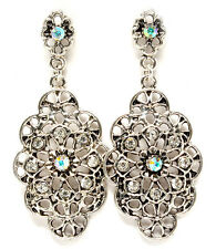 New Antique Silver Tone Filigree AB Clear Crystal Flower Drop Chandelier Earring