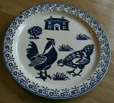 "Emma Bridgewater Blue Hens Large Serving/Cake Plate 13""  2001 Stamp 1st Quality"