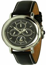 Trias Watches Oval Automatic Watch Silver/Black Men's Watch Leather Watchband
