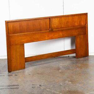 Mid Century Modern Headboard King Size Bed Frame Walnut Wood Denmark Vintage Mcm