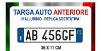TARGA AUTO PROVVISORIA ANTERIORE IN ALLUMINIO REPLICA DEL ORIGINALE