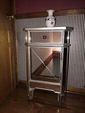 Nightstand End Beside Table w/ Drawer Mirror Fihish Storage Organizer Furniture