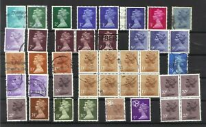 GB - GREAT BRITAIN DEFINITIVE COLLECTION 41 MOSTLY X SERIES 1971-96 FINE USED