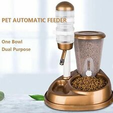 2 In 1 Pet Cat Dog Automatic Feeder With Large Capacity Water Fountain Food Bowl
