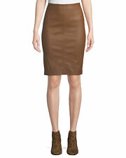 BAGATELLE.CITY Pencil Stretch Leather skirt in cognac brown XS NWOT