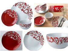 12Pc Dinner Set White & Red Ceramic Plates Bowls Service for 4 Family Dining Set