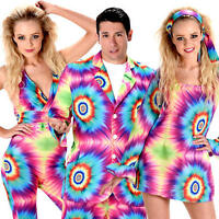 Rainbow Tie Dye Adults Fancy Dress Hippy 1970s 1960s Hippie Groovy Funky Costume
