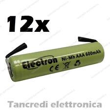 12 Pila Batteria Ministilo AAA 600mAh ricaricabile NiMh lamelle a saldare 500mAh