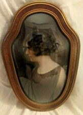 Vintage Oval Convex Bubble Glass Photo Frame w/ Woman Photo Wood Frame
