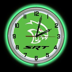 """19"""" Dodge SRT Red Eye Hellcat Sign Green Double Neon Clock Charger Challenger"""