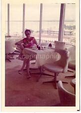 Mid Century Modern Eames Era Chairs Woman In Airport? Restaurant Vintage Photo