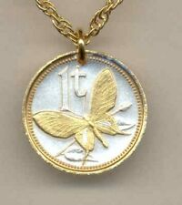 """Papa New Guinea 1 toea """"Butterfly""""  Coin Pendant Necklace."""
