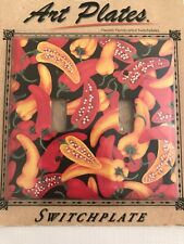 NIP New Double Light Switch Art Plate Cover Chili Peppers Southwestern Kitchen