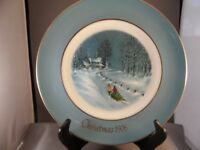 "AVON 1976 CHRISTMAS PLATE ""BRINGING HOME THE TREE"" BY ENOCH WEDGWOOD ENGLAND BOX"